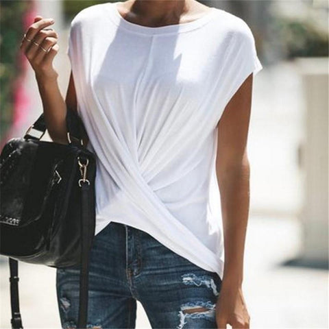 Casual Loose Pure   Color Tie A Knot T-Shirt Blouse