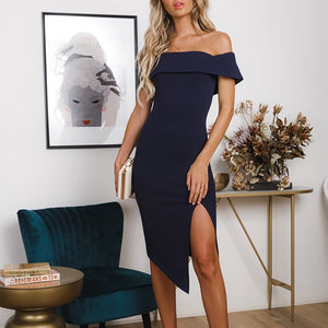 Fashion Boat Neck Off-Shoulder Irregular Slit Bodycon Dresses
