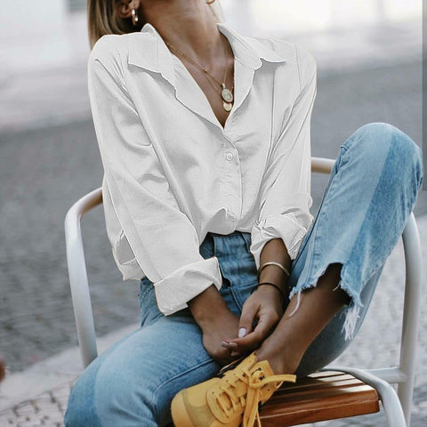 Plain Loose Casual Long Sleeve Blouses