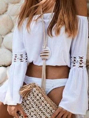 Sweet Plain Off Shoulder Hollow Sleeve Blouse
