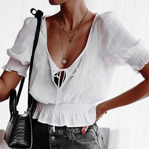 V Neck Elastic Waist Lace Up Blouses