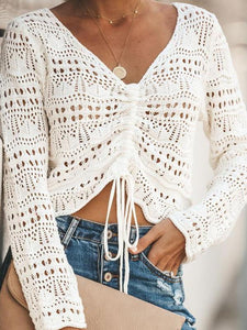 Women's Hook Knitting Bikini Beach V-Neck Blouses