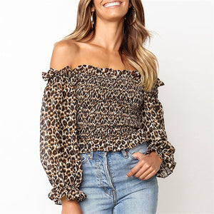 Sexy Off Shoulder Leopard Printed Slim Blouse