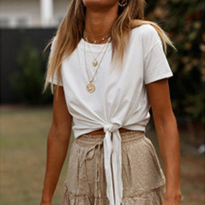 Summer Short Sleeve Solid Color Tie Front Crop Top T-Shirt