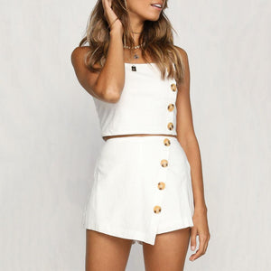 Sexy Slim Button Short Top + Shorts Suit
