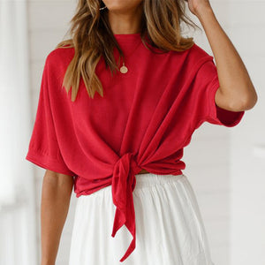 Daily Round Neck Solid Color Strappy Batwing Sleeve Top