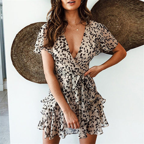 Deep V-Neck Leopard Print Chiffon Mini Sexy Dress