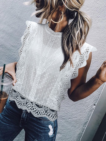 Elegant Lace Splicing Hollow Out See-Through Top