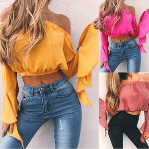 Summer Sexy Crop Top Off-The-Shoulder Ruffled Sleeve Chiffon Shirt