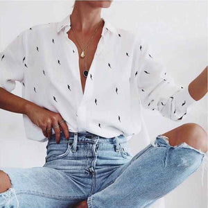 Women's Commuting Printing V Neck Blouse