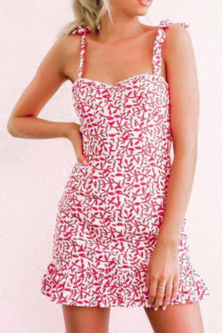 Spaghetti Strap  Printed  Sleeveless  Elegant Bodycon Dresses