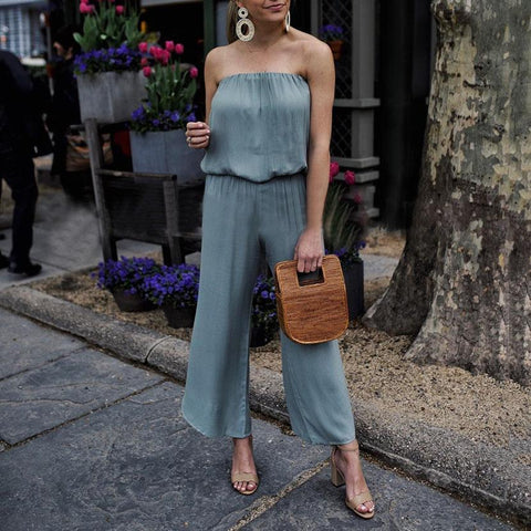 Fashion Solid Color Sexy Tube   Top Jumpsuit