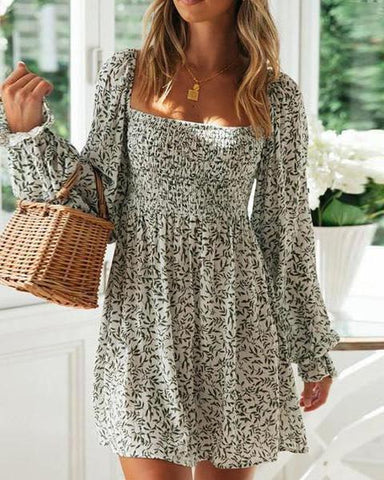 Fashion Long Sleeve Printed Elastic Waist Mini Dress(Video)