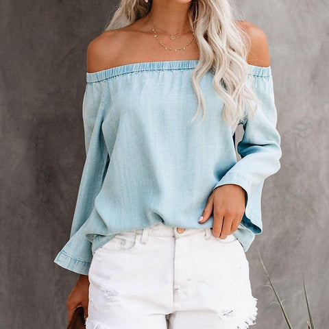 One-Necked Strapless   Long-Sleeved Denim Shirt Top