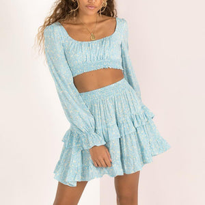 Small Square Long Sleeve   Stitching Ruffle Mini Dress Set