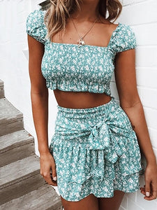 Sweet Boat Neck Short Sleeve Floral Pattern Belted Dress