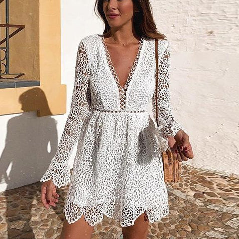 Sexy Deep V Long Sleeve Cutout Mini Dress
