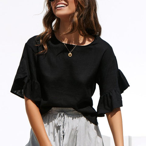 Fashion Solid Color Stitching   Ruffled Top(Video)