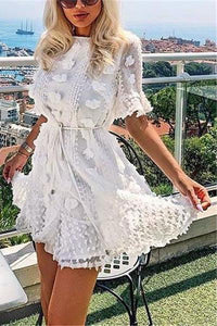 Women's White Lace   Flower Dress
