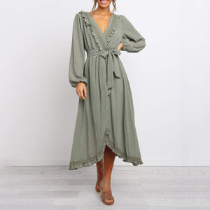 Casual Solid Color V-Neck Long Sleeve Dress