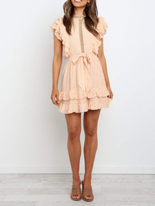 Fashion Solid Color Hollow Ruffle Sleeve Dress
