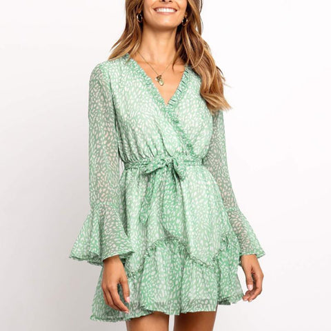 Elegant Ruffled V Neck Floral Mini Dress