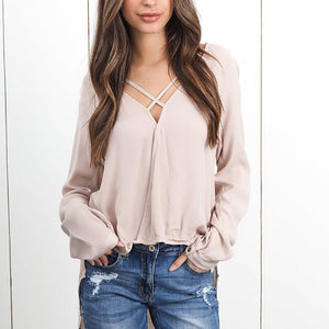 Casual V-Neck Long Sleeve Chiffon Blouse