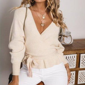 Casual Solid Color Deep V Long Sleeve Knit Lace Sweater