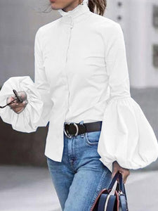 Short High Collar Bell Sleeve Casual Blouses