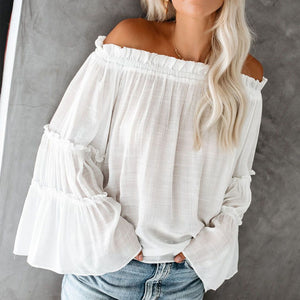 Casual One-Neck Solid Color Sweater T-Shirt