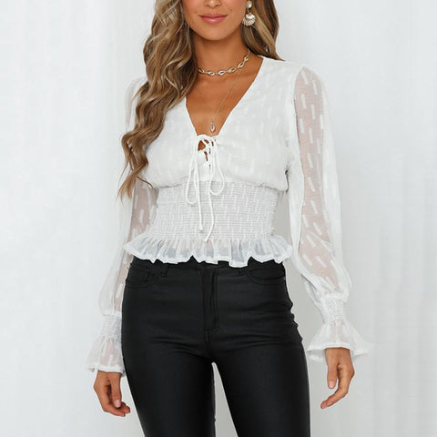 Sweet Lantern Sleeve Long Sleeve Waist Short Chiffon T-Shirt