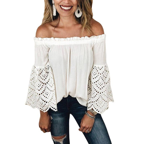 Sexy Word Collar Off-Shoulder Long-Sleeved Openwork Lace Top
