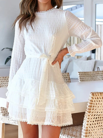 Round Neck White Stitching Loose Mini Dress