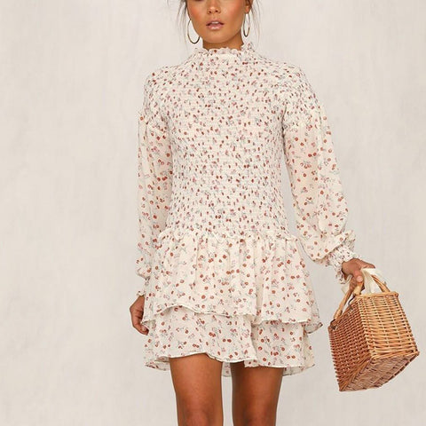 Fashion Flower Printed Long Sleeve Tiered Ruffled Dresses