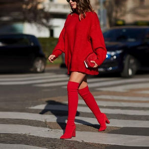 Round Neck Long Sleeve Pure Colour Loose Dress