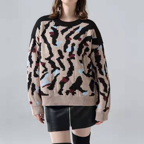 Explosive Leopard Round Neck Long Sleeve Sweater