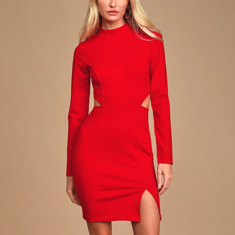 Women's Slim Fit Solid Color Dress