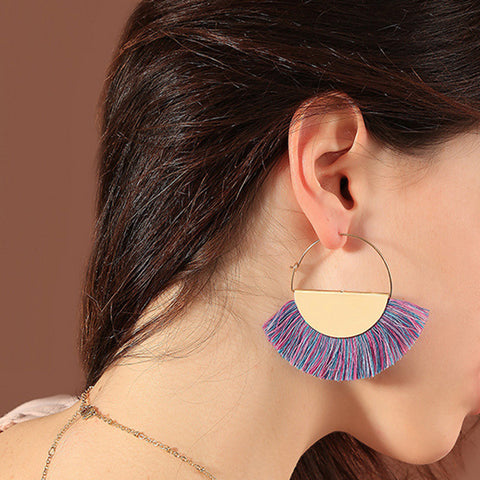 Creative semicircle tassel earrings