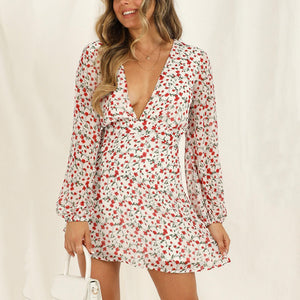 Fashion V-collar long-sleeved printed dress