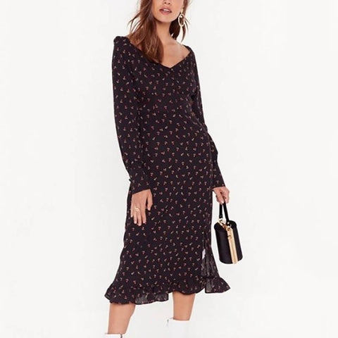 V-Neck Print Pleated Hem Dress