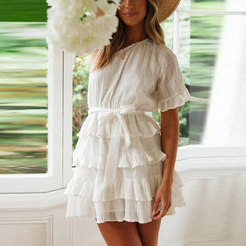 One-Shoulder Short Sleeve Ruffling Layered Flounces Mini Dresses