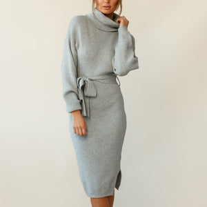 Fashion high neck grey lace knit dress