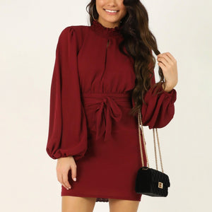 Fashionable pure color round neck dress