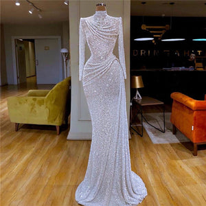 Sexy high neck sequined maxi dress