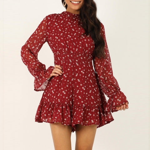 Temperament Sweet Floral Pattern Ruffled Dress