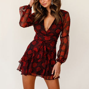 Sexy Women Printed Deep V-neck Flounce Dress