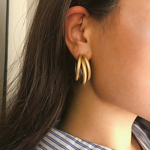 Retro Matt Geometry C-Shaped Tube Earrings Female