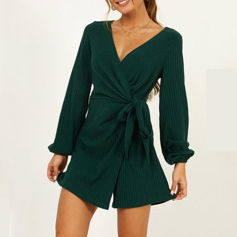 Fashion V-neck knot Long Sleeve Dress