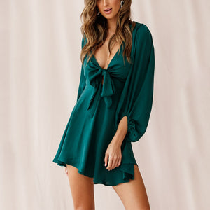 Women sexy deep v-neck chiffon dress