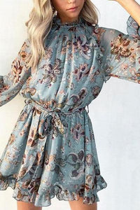 Fashion Ruffled Printed Colour Stand Collar Jumpsuits